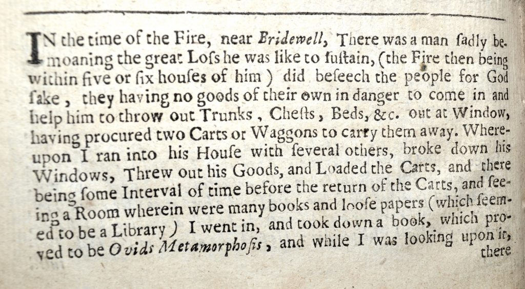 University of Leicester Special Collections. The opening passage of John Stewart's account of his encounter with the mysterious old man, whom he accused of fire-raising. From: A True and Faithful Account of the Several Informations Exhibited to the Honourable Committee Appointed by the Parliament to Inquire into the Late Dreadful Burning of the City of London, (London, 1667), SCM 05525.
