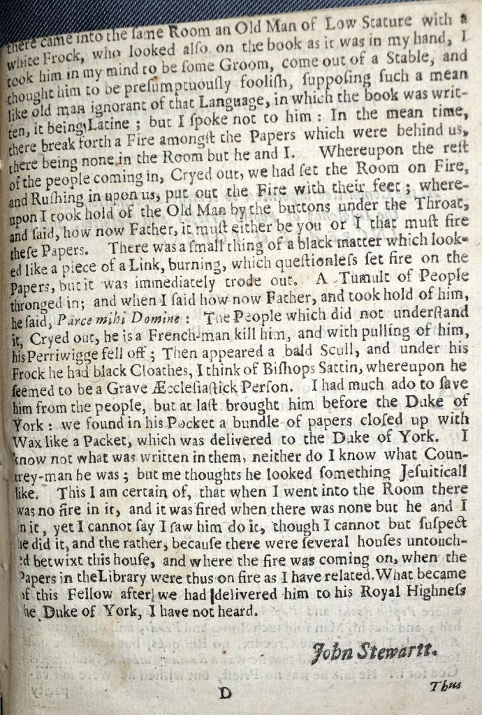 University of Leicester Special Collections. The continuation of Stewart's evidence to the Committee. From: A True and Faithful Account of the Several Informations Exhibited to the Honourable Committee Appointed by the Parliament to Inquire into the Late Dreadful Burning of the City of London, (London, 1667), SCM 05525.