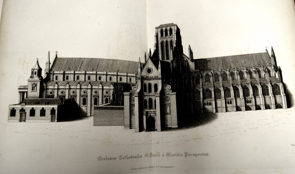 University of Leicester Special Collections. Old St Paul's, after the loss of its famous spire in the fire of 1561 from: SCT 00908, William Dugdale, The History of St. Pauls Cathedral in London : From its Foundation Untill these Times …, (London, 1818).