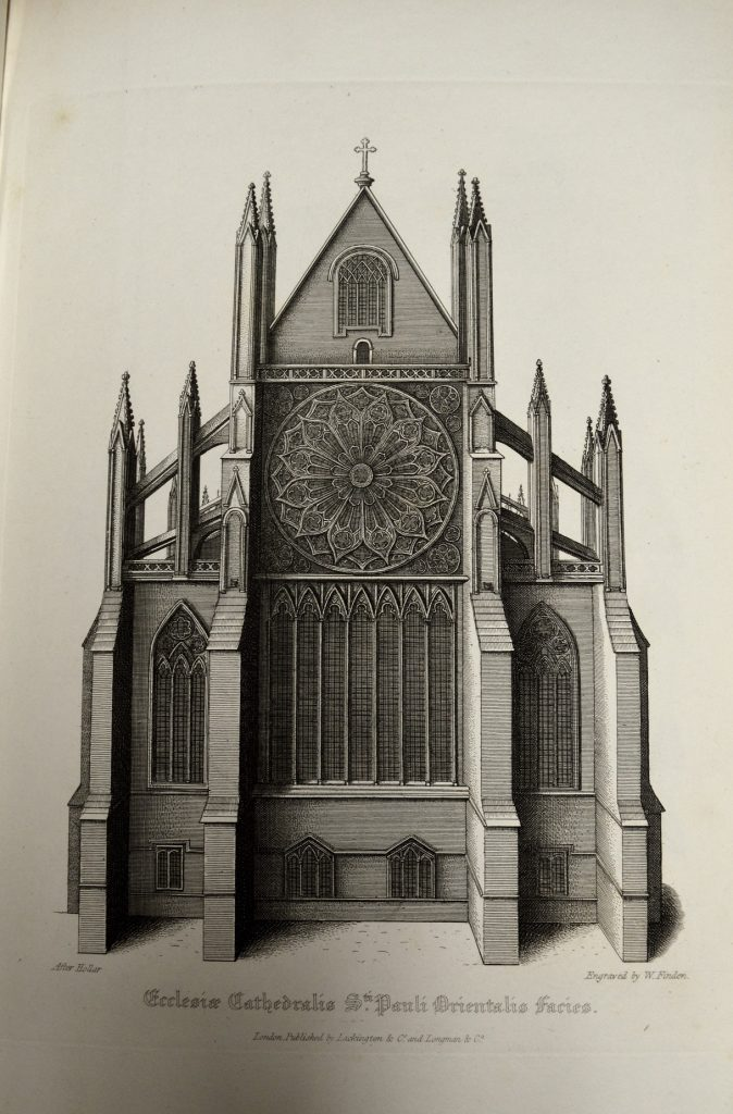 University of Leicester Special Collections. The East wall of Old St Paul's, behind which St Erkenwald's shrine was sited, with its magnificent rose stained glass window. From SCT 00908, William Dugdale, The History of St. Pauls Cathedral in London : From its Foundation Untill these Times …, (London, 1818).