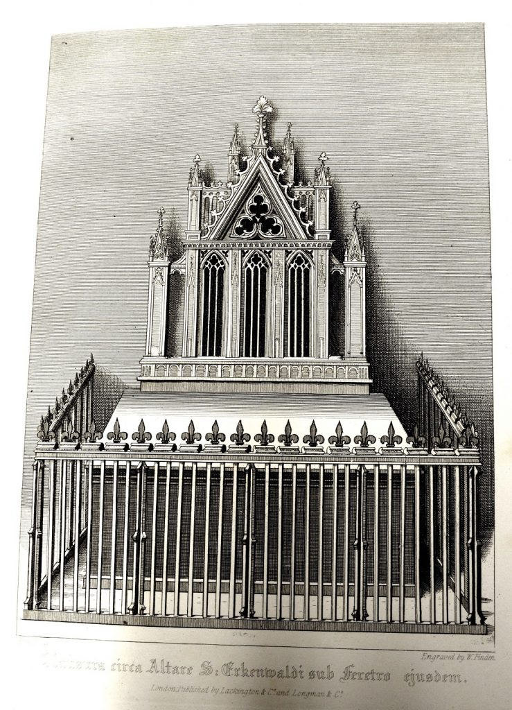 University of Leicester Special Collections. The Shrine of Saint Erkenwald, which was in the shape of a pyramid, with an offering-table before it, and was adorned with gold, silver and precious stones. From SCT 00908, William Dugdale, The History of St. Pauls Cathedral in London : From its Foundation Untill these Times …, (London, 1818).