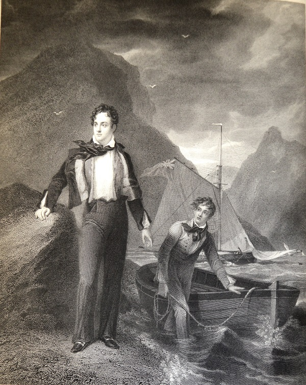 University of Leicester Special Collections. 'Lord Byron at the age of 19', engraved by W. Finden from a painting by G. Sanders. This portrait shows Byron, his hair and clothing ruffled by the wind, in a typically heroic and romantic pose, his unfortunate companion, meanwhile, standing up to his calves in the water. From: SCM 09397, Thomas Moore, Letters and Journals of Lord Byron …, Vol. I, (London, 1830).