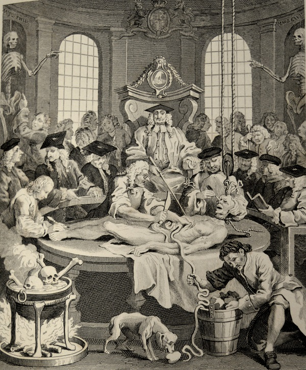 University of Leicester Special Collections. 'The Reward of Cruelty' from 'The Four Stages of Cruelty' by William Hogarth. Frankenstein was written during the era of bodysnatching and the Anatomy Act, regulating the practice of anatomy and the treatment of all bodies used for dissection, was passed in 1832, the year after the illustrated edition of the book discussed here was published. From: SCM 09547, William Hogarth, The Works of William Hogarth, (London, 1833).