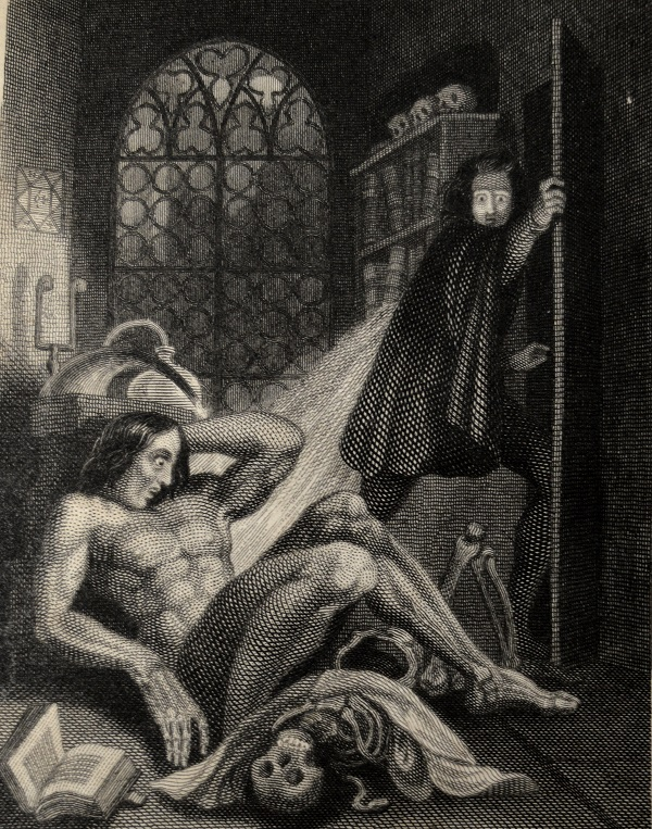 University of Leicester Special Collections. Frontispiece to the first illustrated edition of Frankenstein, drawn by Theodor von Holst and engraved by W. Chevalier. From: SCS 01395, Mary Wollstonecraft Shelley, Frankenstein, (London, 1831).