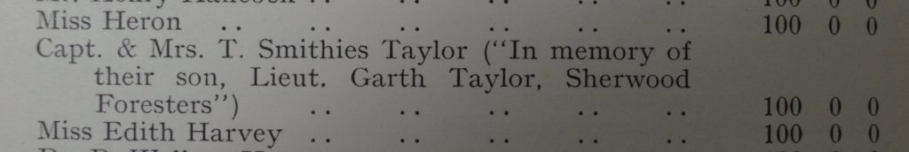 Record of donation by Capt. & Mrs. T. Smithies Taylor in memory of their son (ULA P/AR1)