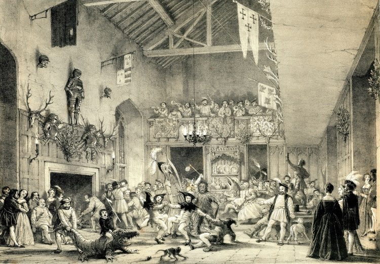 University of Leicester Special Collections. Traditional Christmas merry-making in the banqueting hall at Haddon Hall, Derbyshire from: Joseph Nash, The Mansions of England in the Olden Time, Series I, (London, 1839), SCD 00515.