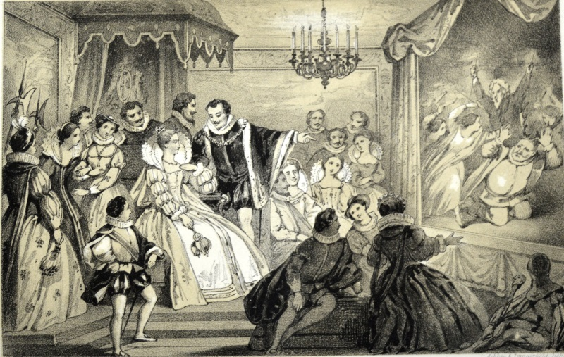University of Leicester Special Collections. 'Play before Queen Elizabeth' from: William Sandys, Christmastide: its History, Festivities and Carols, (London, [1852], SCM 12913.