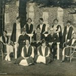 Students and staff, 1922. Back row: R. Bennett, W. Bates, M. Nevitt, M. Webb, G. K. Smalley. Middle row: E. Capey, Miss C. E. C. Measham, Dr. R. F. Rattray, W. G. Gibbs, N. Bonser. Front row: D. Ough, D Gilbert.