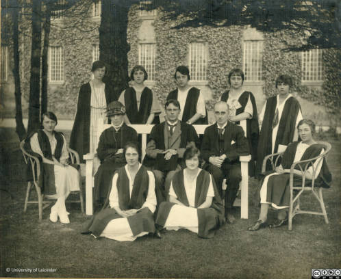 The first group of 9 students with staff. Back row: R. Bennett, W. Bates, M. Nevitt, M. Webb, G. K. Smalley. Middle row: E. Capey, Miss C. E. C. Measham, Dr. R. F. Rattray, W. G. Gibbs, N. Bonser. Front row: D. Ough, D Gilbert.
