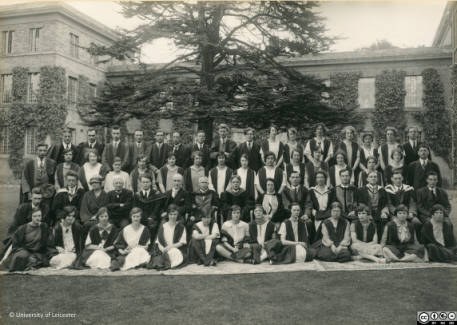 ULA/FG5/1/4: Staff and students in 1926. First seated row: Dr. L. Hunter (4th from right), C. P. Snow (2nd from left). Back row: A. T. Chamberlain (in front of tree), W. D. Hargreaves (tall man to right of tree). Snow, Chamberlain and Hargreaves were the first intake into the Chemistry Department. Also P. Leon, W. G. Gibbs, P. W. Bryan, R. F. Rattray, E. N. Miles Thomas, M. Soman.