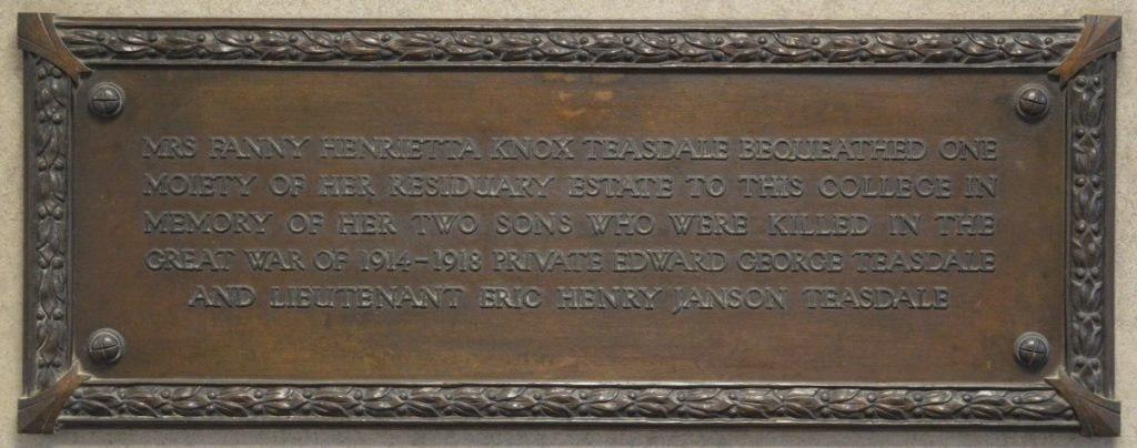 Memorial plaque to Eric and Edward Teasdale, Fielding Johnson Building
