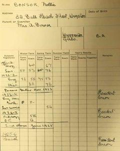 ULA/SR1/B, Student record card for Nellie Bonsor