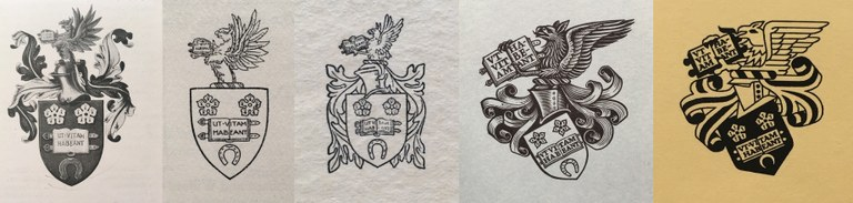 The University crest over the decades