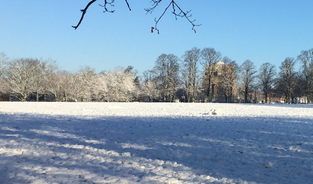 View of Victoria Park, Leicester, 26 January 2021, showing show on the ground and in the trees