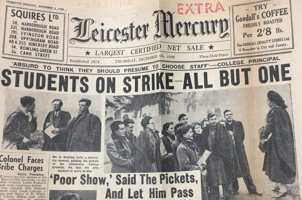 Front page of Leicester Mercury, 5 December 1946, re student strike at University College Leicester