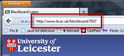 Blackboard shortcut URL