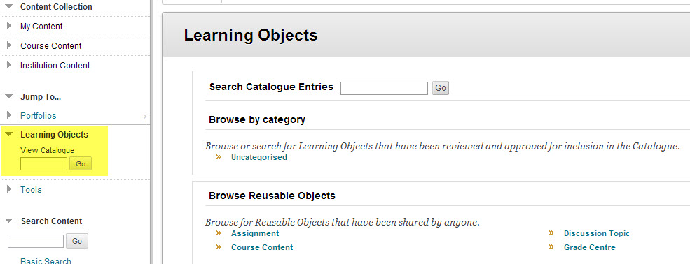 learning objects catalogue