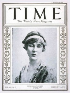 Diana Cooper featured on the cover of Time Magazine, February 15 1926. Source: Wikimedia Commons