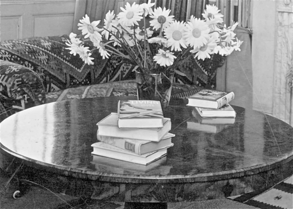 Focus on Henry Yorke's book sitting on the marble table.