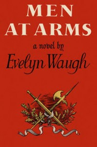 Book jacket design for Men at Arms, red with a crossed sword and axe