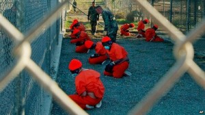 Detainees at Guantanamo Bay, via BBC.