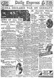 Front cover of Daily Express from 1933 'Judea Declares War on Germany'